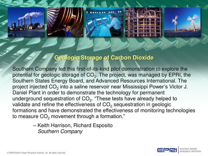 Geologic Storage of Carbon Dioxide