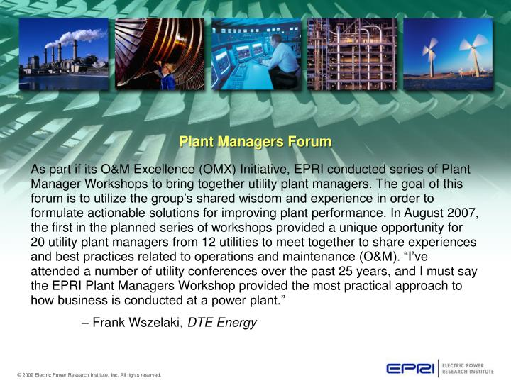 Plant Managers Forum