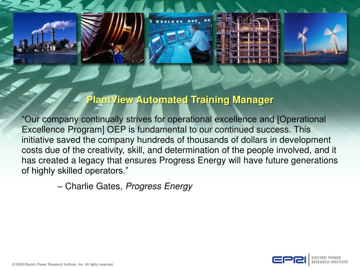 Plantview automated training manager