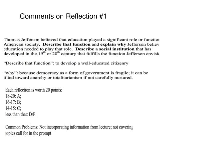 Comments on Reflection #1