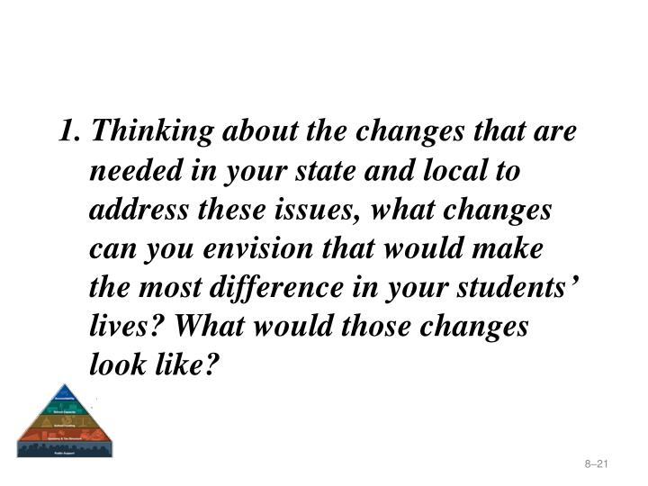 1. Thinking about the changes that are needed in your state and local to address these issues, what changes can you envision that would make the most difference in your students' lives? What would those changes look like?