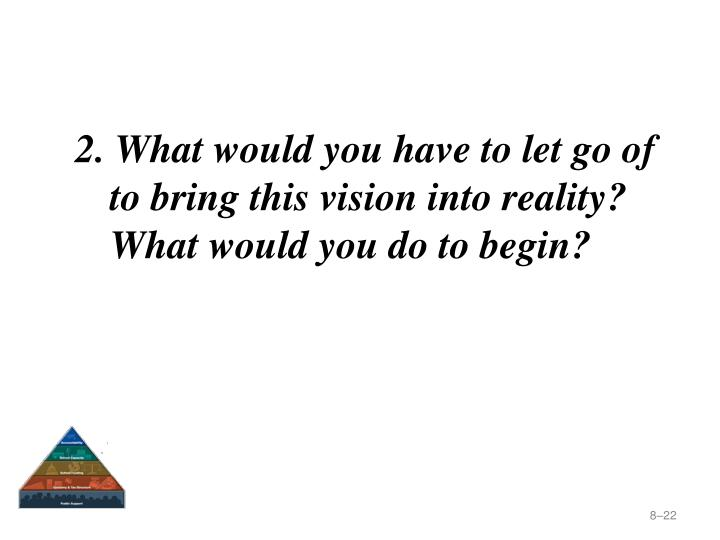 2. What would you have to let go of to bring this vision into reality? What would you do to begin?