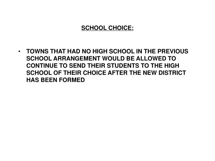 SCHOOL CHOICE: