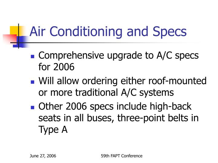Air Conditioning and Specs
