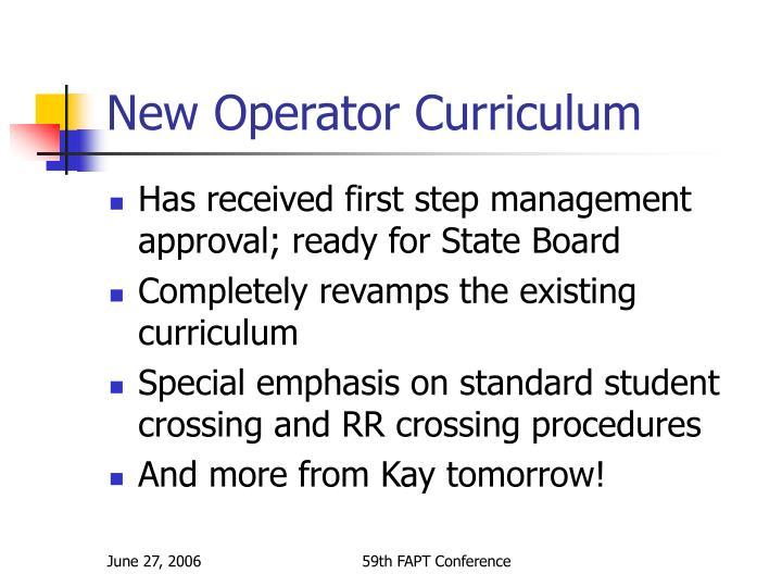 New Operator Curriculum