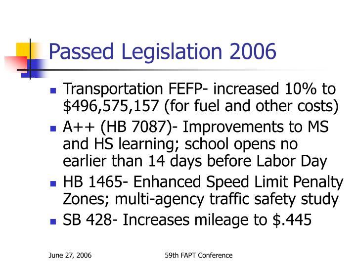 Passed Legislation 2006