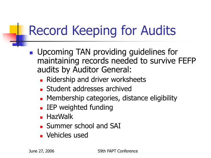 Record Keeping for Audits
