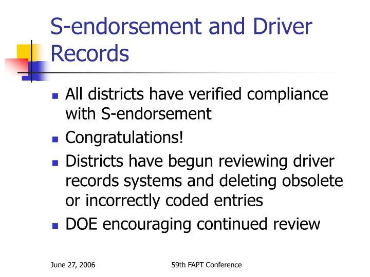 S-endorsement and Driver Records