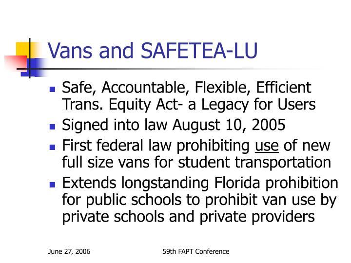 Vans and SAFETEA-LU