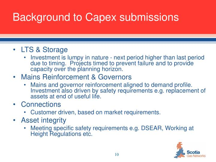 Background to Capex submissions