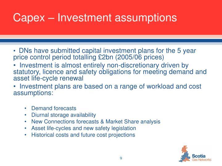 Capex – Investment assumptions