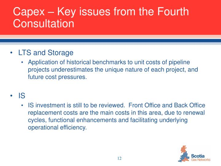 Capex – Key issues from the Fourth Consultation
