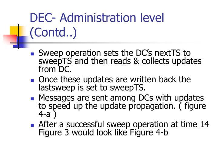 DEC- Administration level (Contd..)