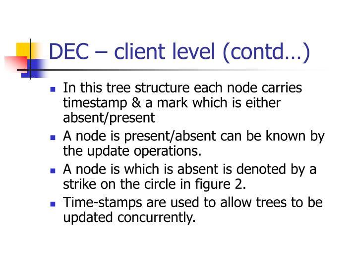 DEC – client level (contd…)