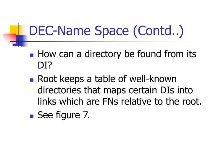 DEC-Name Space (Contd..)