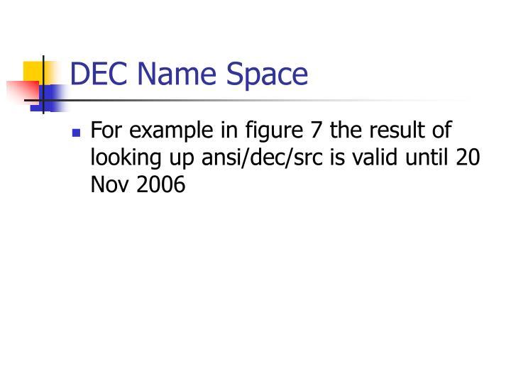 DEC Name Space