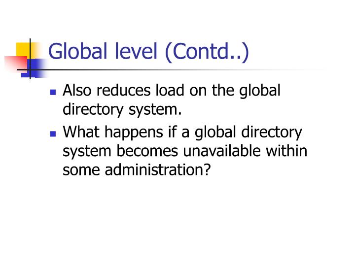 Global level (Contd..)