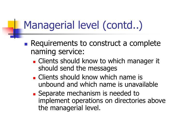 Managerial level (contd..)