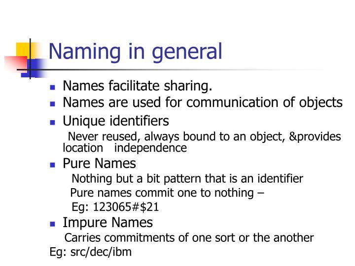 Naming in general