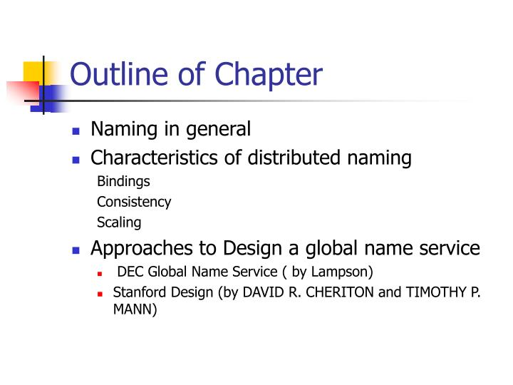 Outline of chapter