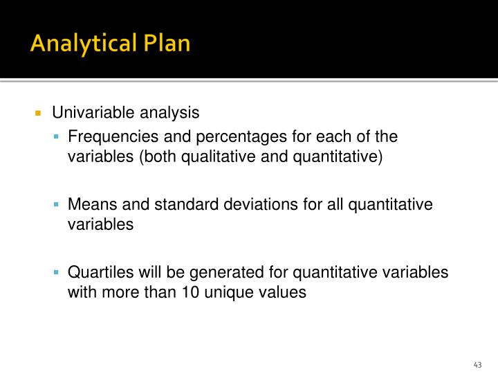 Analytical Plan