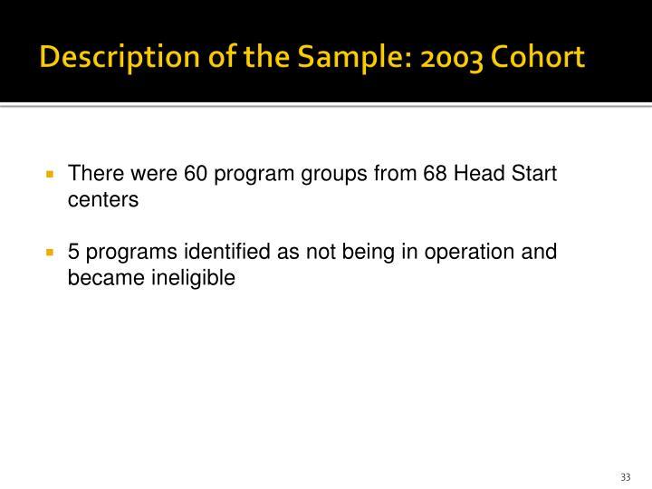 Description of the Sample: 2003 Cohort