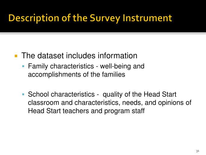 Description of the Survey Instrument