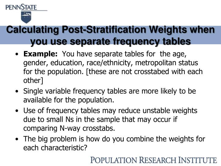 Calculating Post-Stratification Weights when you use separate frequency tables