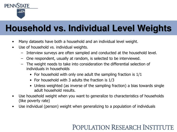 Household vs. Individual Level Weights