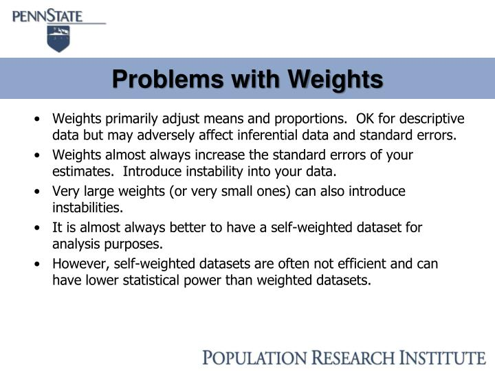 Problems with Weights