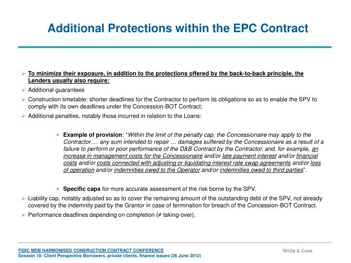 Additional Protections within the EPC Contract