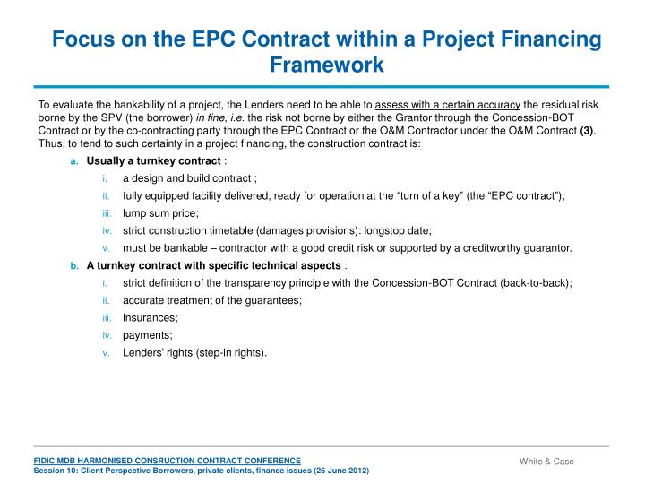 Focus on the EPC Contract within a Project Financing Framework