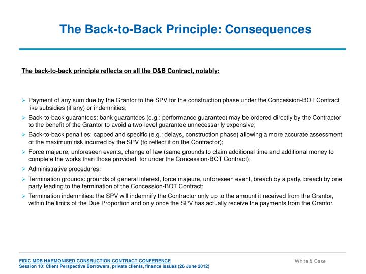 The Back-to-Back Principle: Consequences