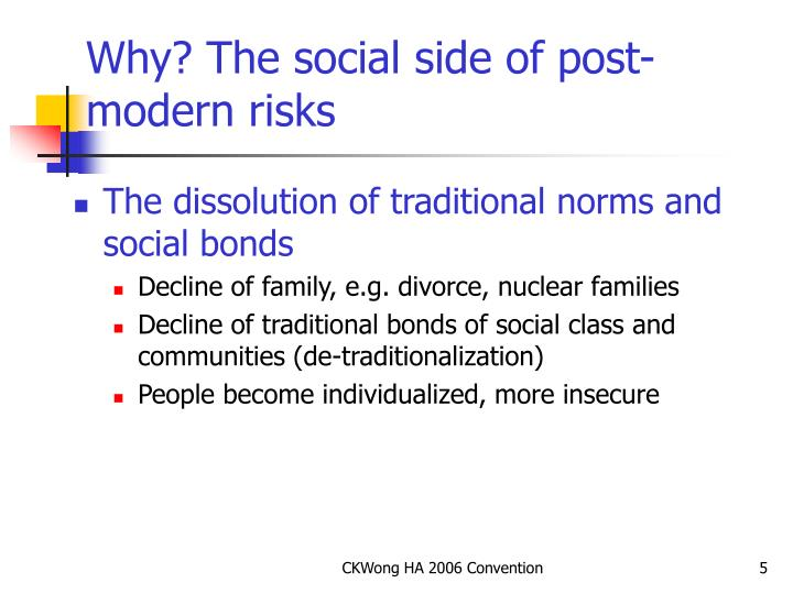 Why? The social side of post-modern risks
