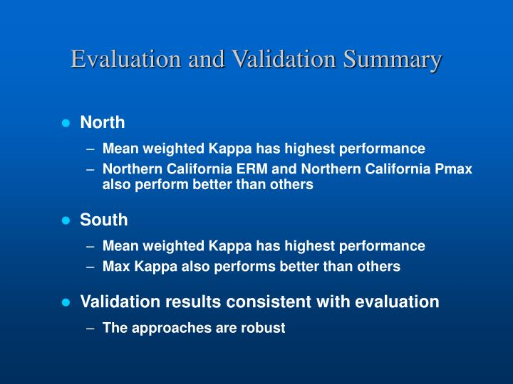 Evaluation and Validation Summary