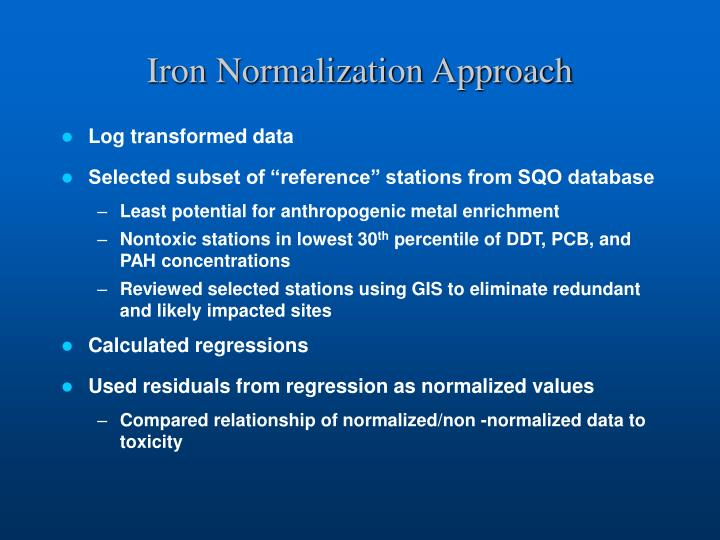 Iron Normalization Approach