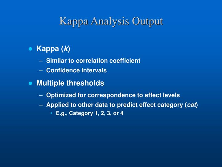 Kappa Analysis Output