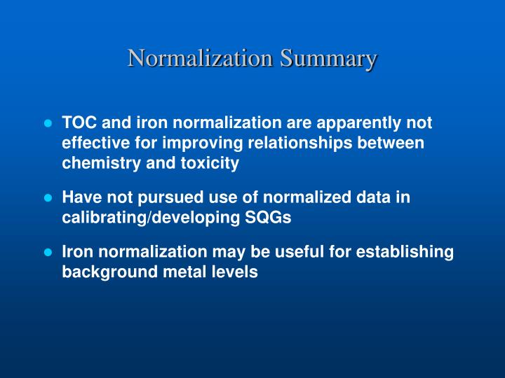 Normalization Summary