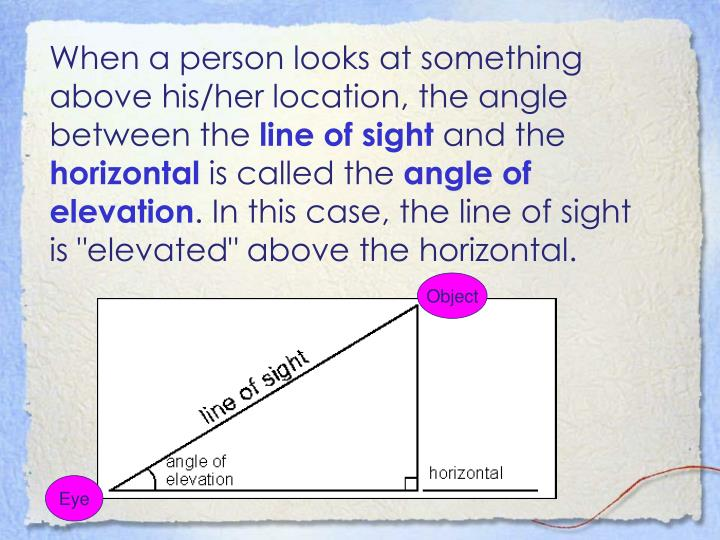 When a person looks at something above his/her location, the angle between the