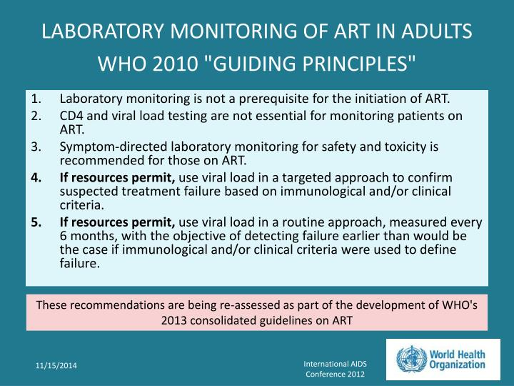 Laboratory monitoring of art in adults who 2010 guiding principles