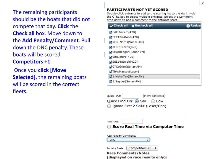 The remaining participants should be the boats that did not compete that day.