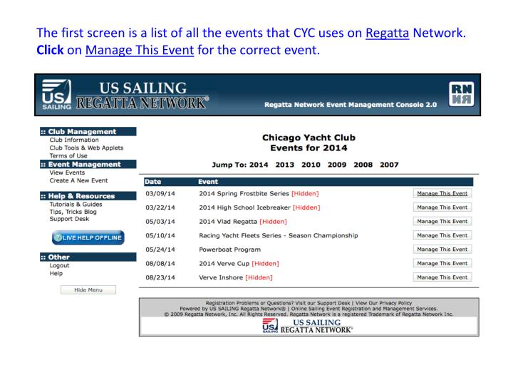 The first screen is a list of all the events that CYC uses on