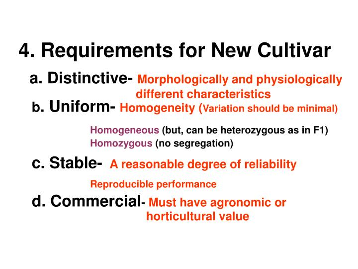 4. Requirements for New Cultivar