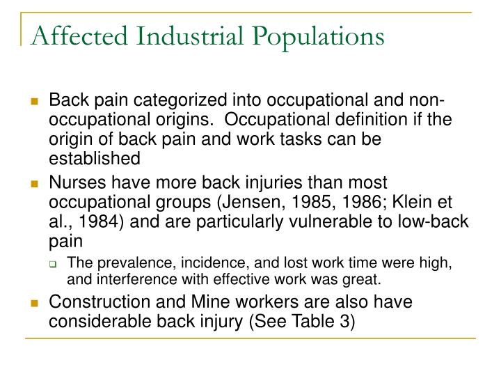 Affected Industrial Populations