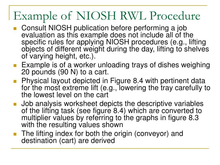 Example of NIOSH RWL Procedure