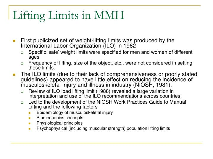 Lifting Limits in MMH