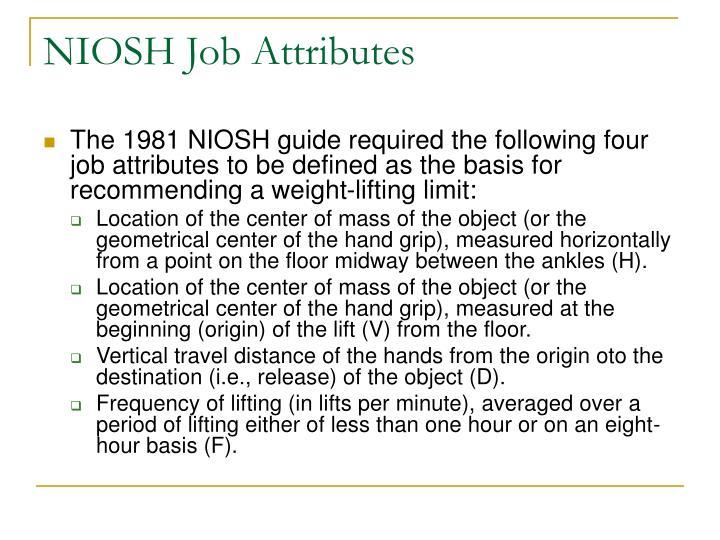 NIOSH Job Attributes