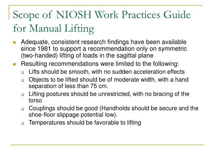 Scope of NIOSH Work Practices Guide for Manual Lifting