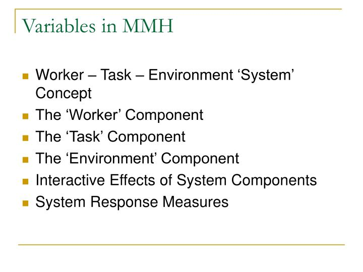 Variables in MMH