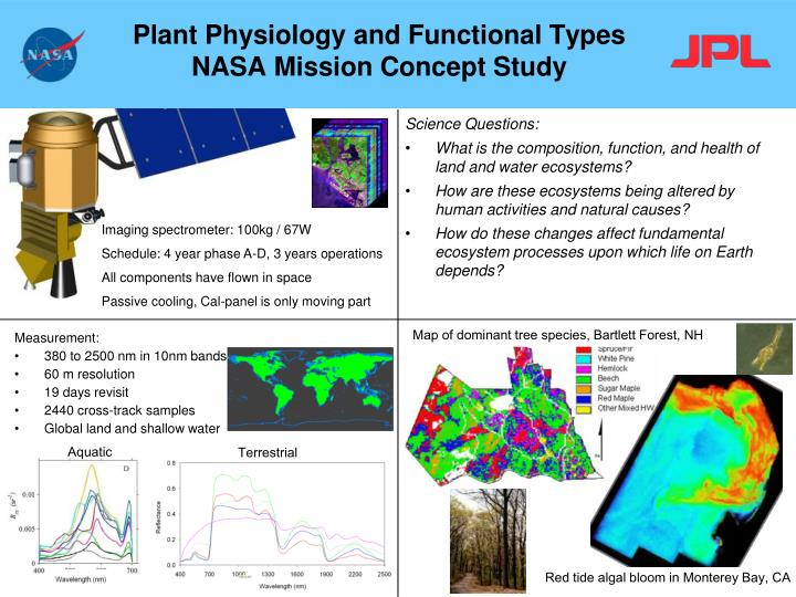 Plant physiology and functional types nasa mission concept study